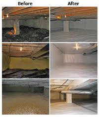 before and after crawlspace